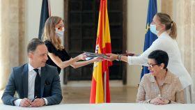 Arancha González Laya durante la cita en Valencia con su homólogo alemán, Heiko Maas.