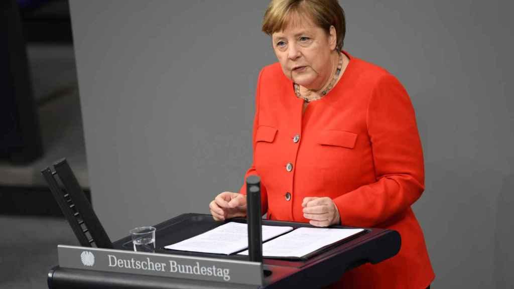 Angela Merkel en el Parlamento alemán.
