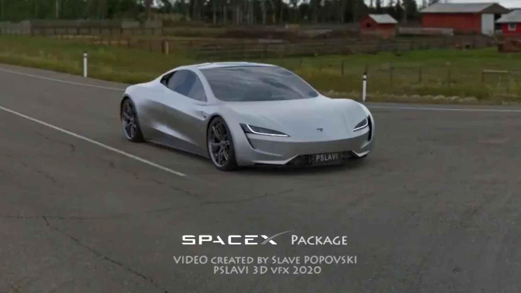 Simulación por ordenador del nuevo Tesla Roadster