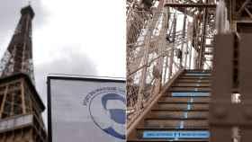 La Torre Eiffel, dotada de señalización para evitar contagios.