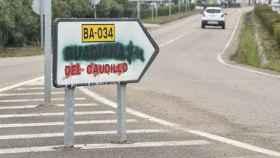 Cartel que señaliza hacia Guadiana del Caudillo (Badajoz). Efe