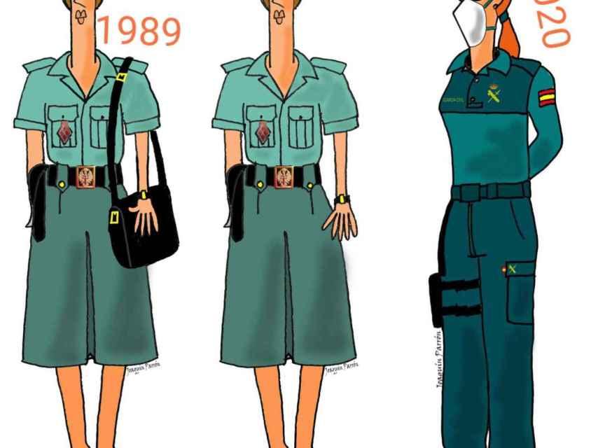 Cómo ha cambiado el uniforme de las mujeres guardias civiles.
