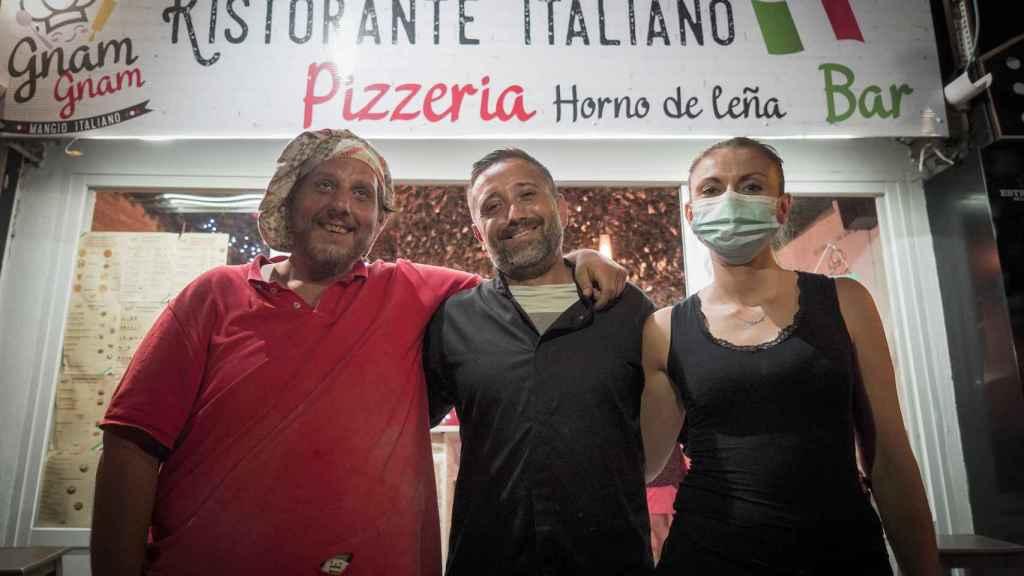 Darío (cocinero), Giussepe y Sonia, de la Pizzería Gnam Gnam.