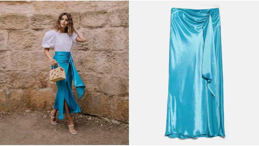 Alexandra Pereira y la falda de Zara en montaje de JALEOS.