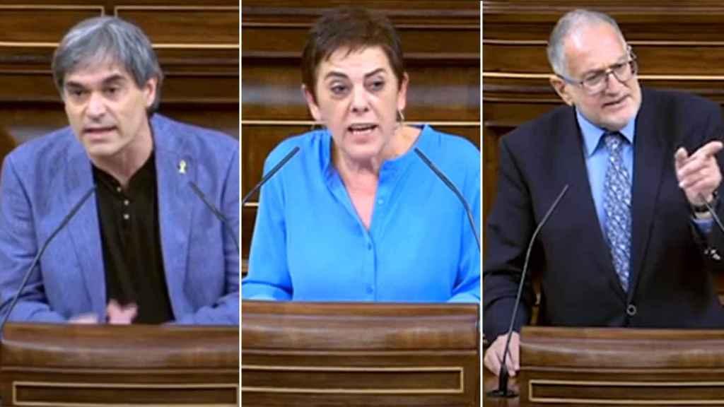 Francesc Xavier Eritja (ERC), Juan Luis Steegman (Vox) y Mertxe Aizpurua (Bildu) en sus intervenciones de este jueves en el Congreso.