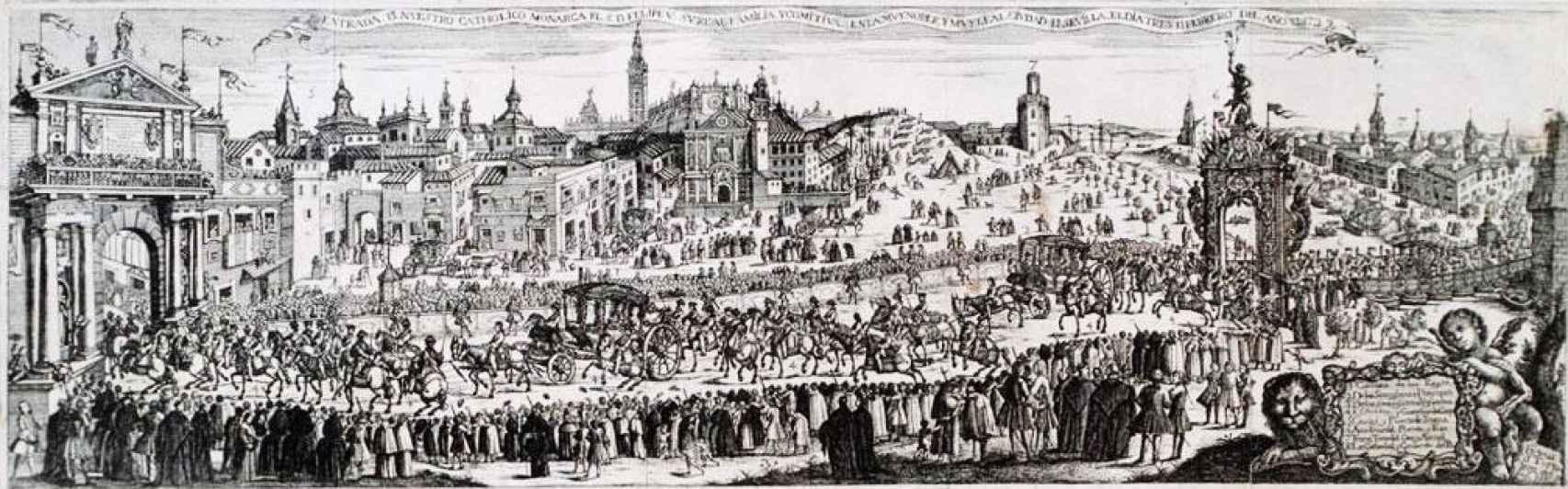 Entrada de Felipe V y su comitiva en Sevilla, según un grabado de Pedro Tortolero.
