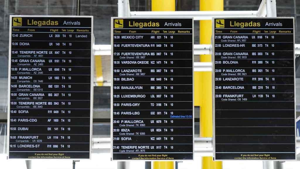 Estos vuelos operaban este viernes en Madrid.