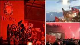 Los fans del Liverpool celebran la Premier League