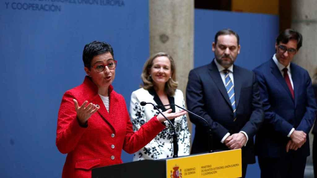 Arancha González Laya y Nadia Calviño, en su toma de posesión.
