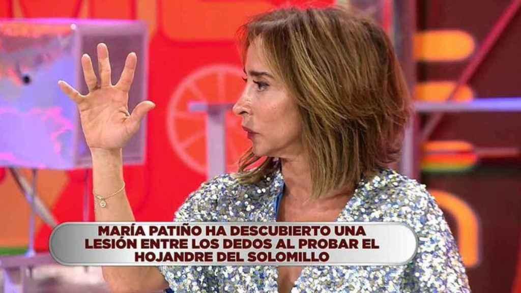 María Patiño, en el momento en el que se percata de su lesión.