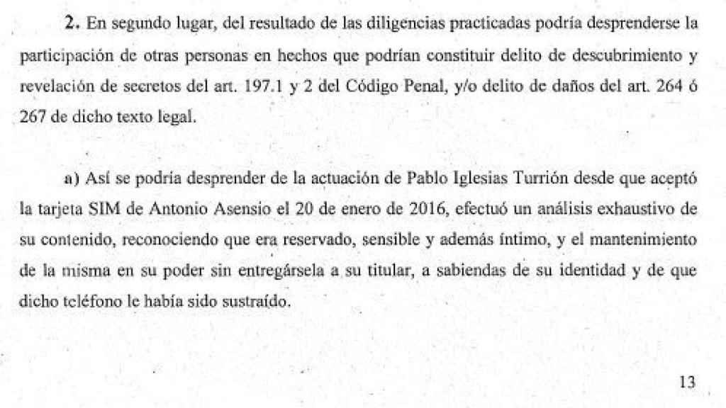 Escrito de los fiscales en el que señalan los indicios contra Pablo Iglesias./