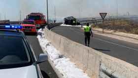 Una imagen del camión accidentado