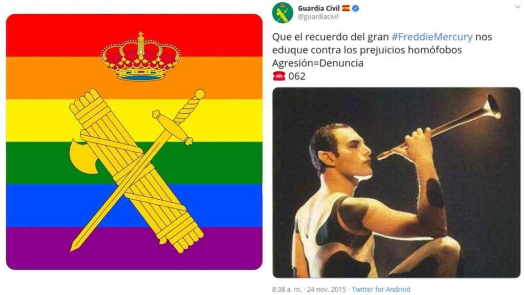El avatar arcoíris de la Guardia Civil y el tuit contra la homofobia.