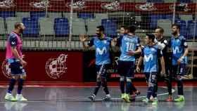 Los jugadores de Movistar Inter en la final de fútbol sala ante el Valdepeñas