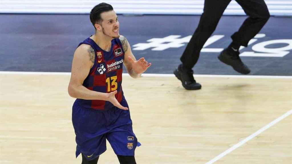 Thomas Heurtel celebra una canasta del Barcelona en la final de la Liga Endesa ante Kirolbet Baskonia