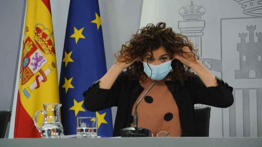 La ministra María Jesús Montero, al inicio de una reciente rueda de prensa.