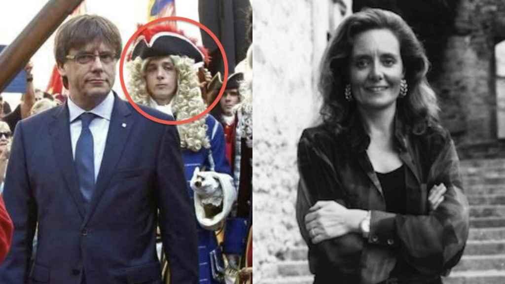 Fotomontaje de la consejera catalana de Cultura, Mariàngela Vilallonga, y su hijo junto a Puigdemont.