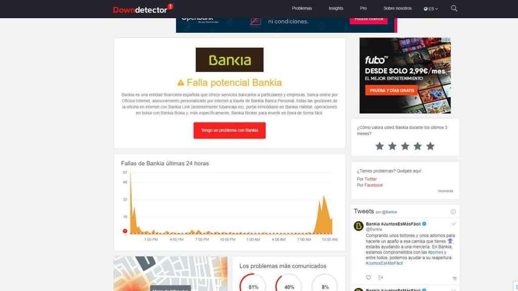 Bankia en DownDetector.