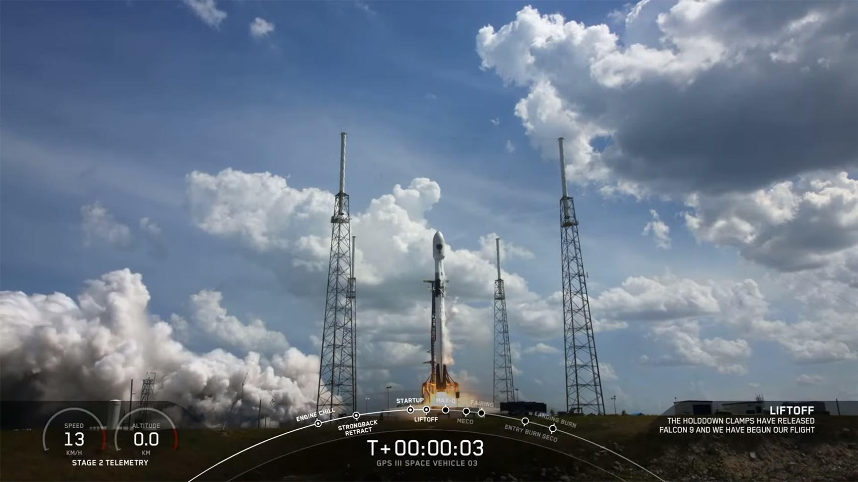 Lanzamiento del satélite GPS para la Fuerza Espacial de EEUU.