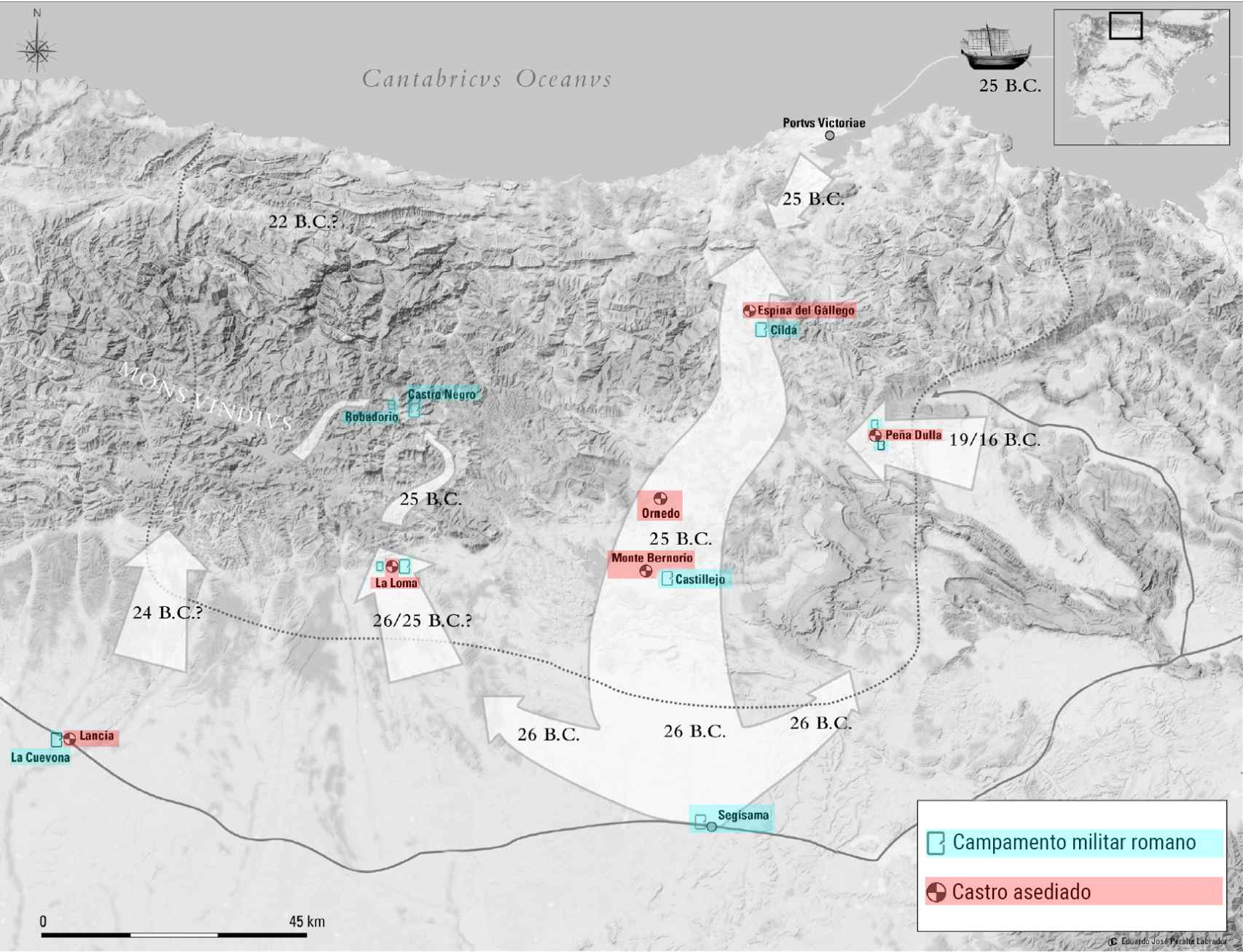 Algunos de los campamentos y fortalezas romanas más importantes fueron sitiados en la región de Cantabria y el norte de Castilla y León.