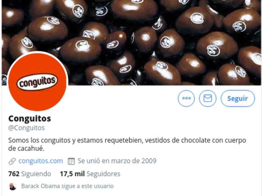 Captura del perfil de Twitter de 'Conguitos' en el que se ve que Obama es su seguidor.