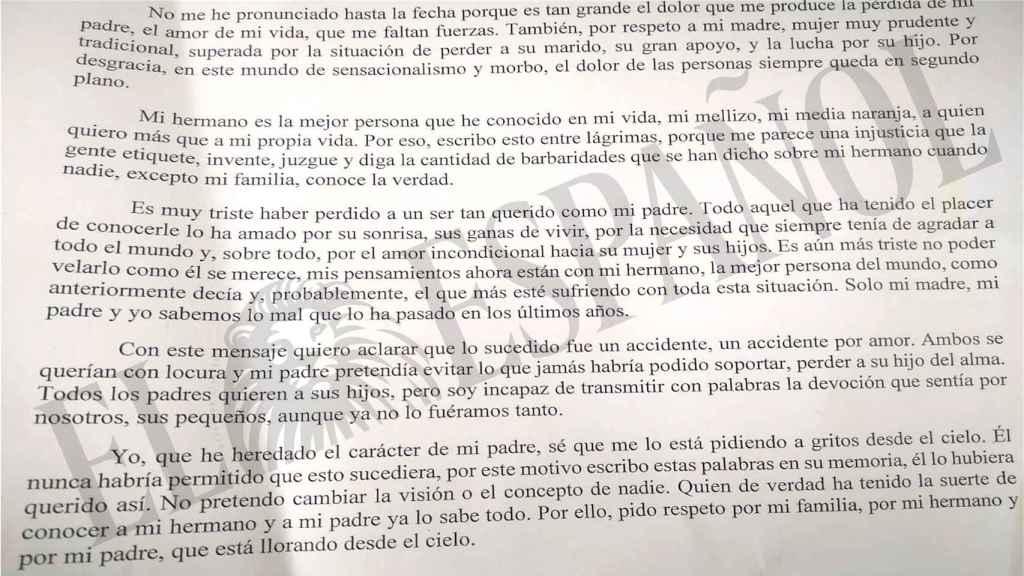 La carta que su hermana ha escrito para aclarar que lo sucedido