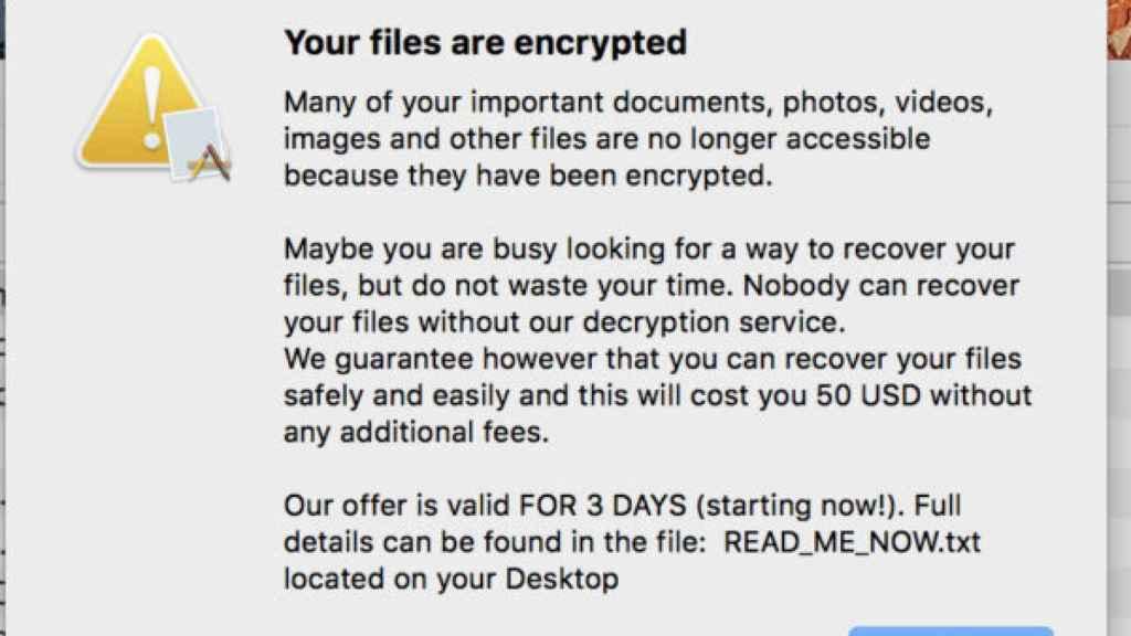 Ventana que muestra ransomware en macOS