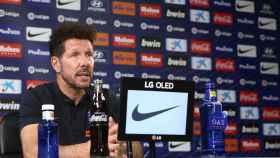 Diego Pablo 'Cholo' Simeone durante la rueda de prensa previa al partido frente al Mallorca