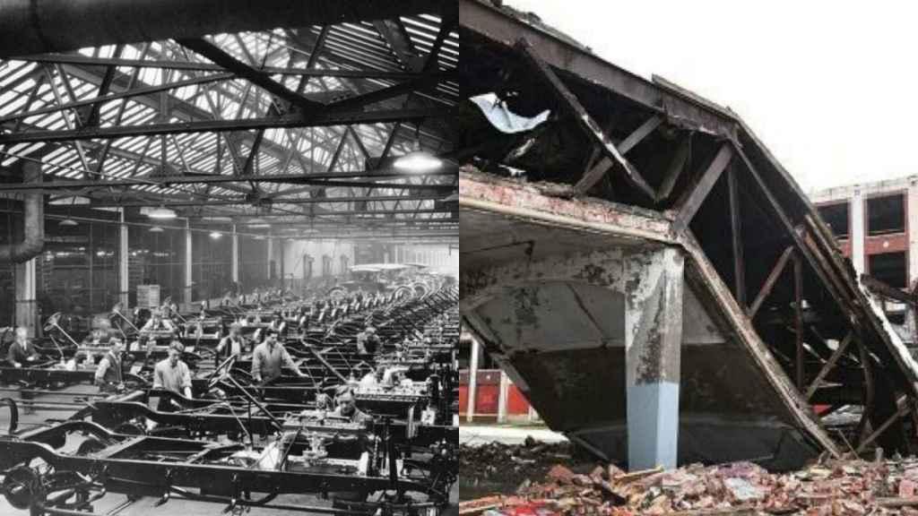Imagen de una planta de Detroit en sus años de bonanza y en la actualidad.