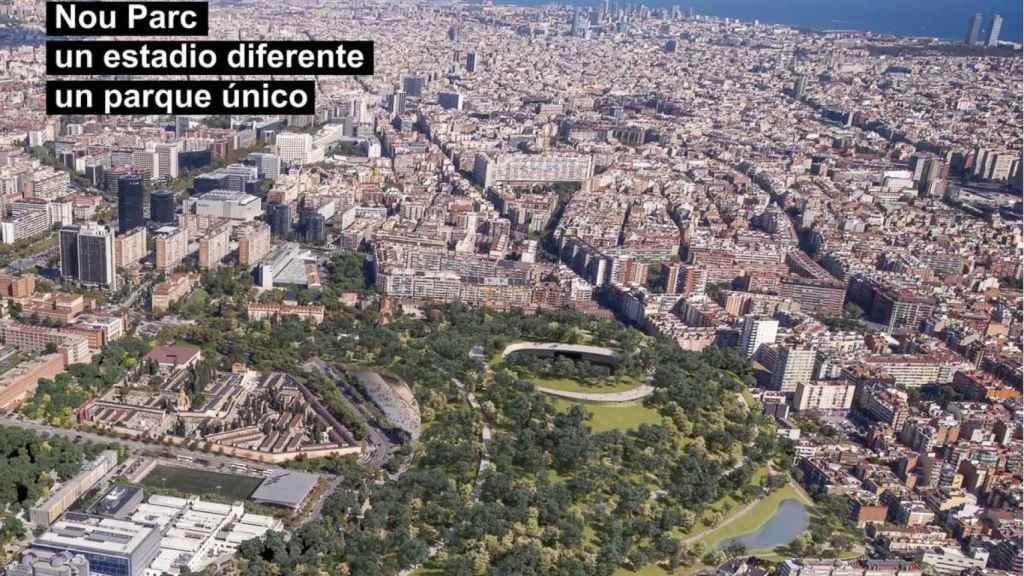 El 'Nou Parc' sobre el Camp Nou de Barcelona