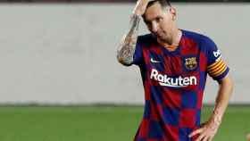 Messi, cabizbajo durante un partido del Barcelona