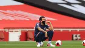 Dani Ceballos, en la previa de un partido del Arsenal en la Premier League