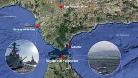 El mapa de las bases navales de Rota y de Alcazarseguir.