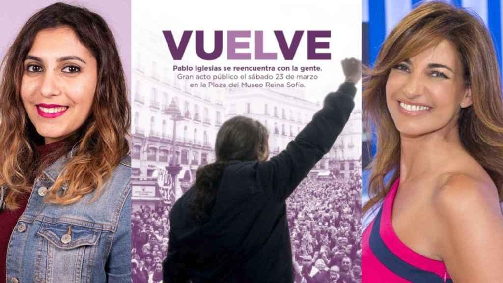 De izquierda a derecha: Dina Bousselham, el cartel de 'vuELve' y la periodista Mariló Montero.