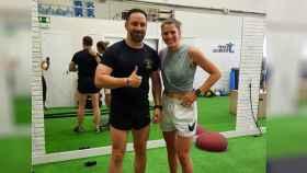 Santiago Abascal junto a Marta Palomar tras un entrenamiento