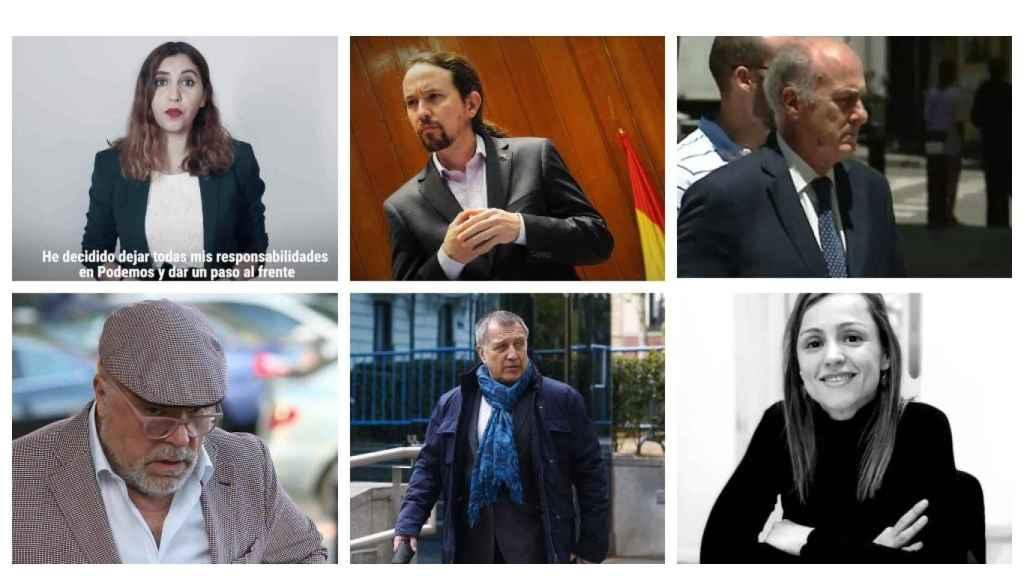 Dina Bousselham, Pablo Iglesias, Manuel García-Castellón, José Villarejo, Alberto Pozas y Marta Flor Núñez.