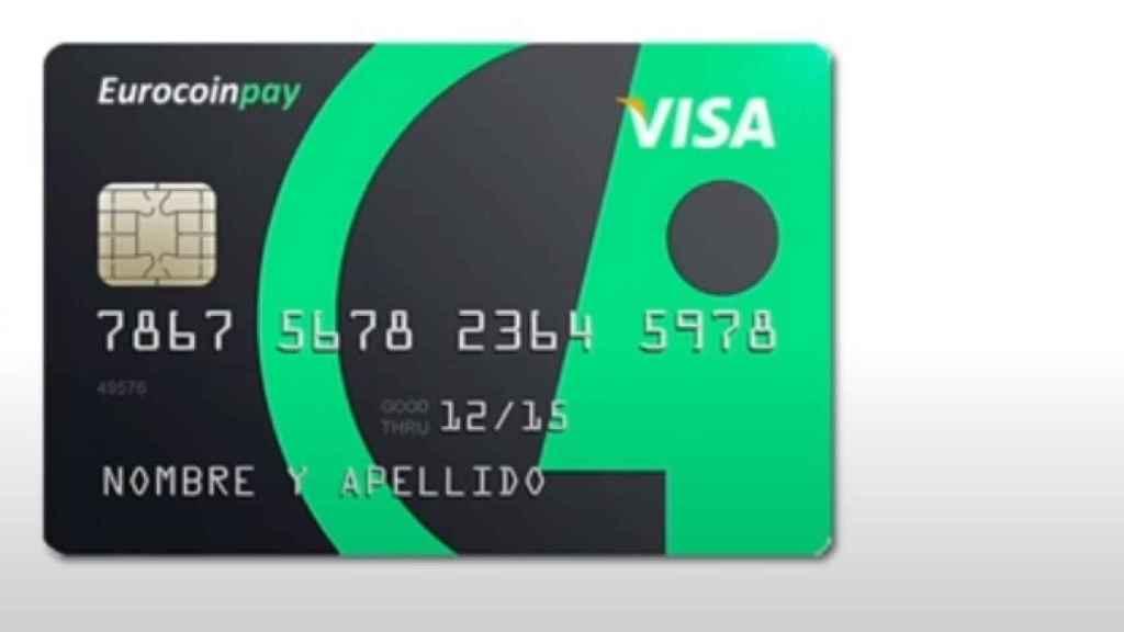 Prototipo de la futura tarjeta Visa Eurocoinpay.