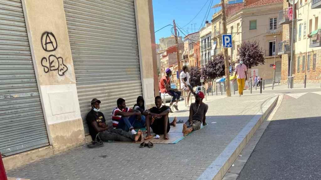 Temporeros en las calles de Lérida.