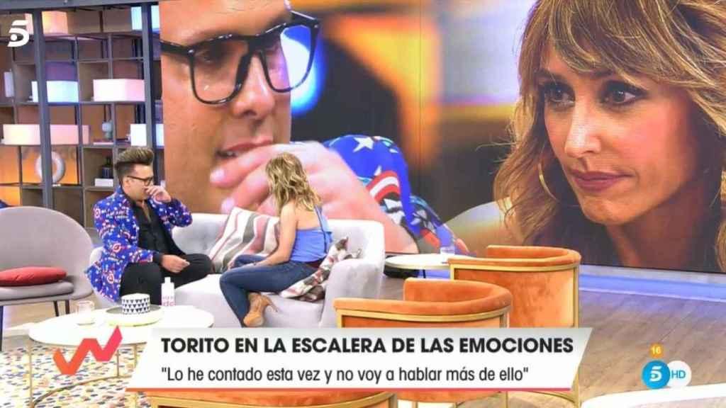 Torito llorando ante Emma García tras su confesión.