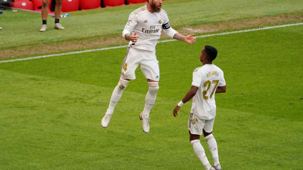 Sergio Ramos celebra su gol al Athletic