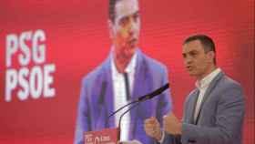 El presidente del Gobierno, Pedro Sánchez, durante el mitin de este sábado en A Coruña.