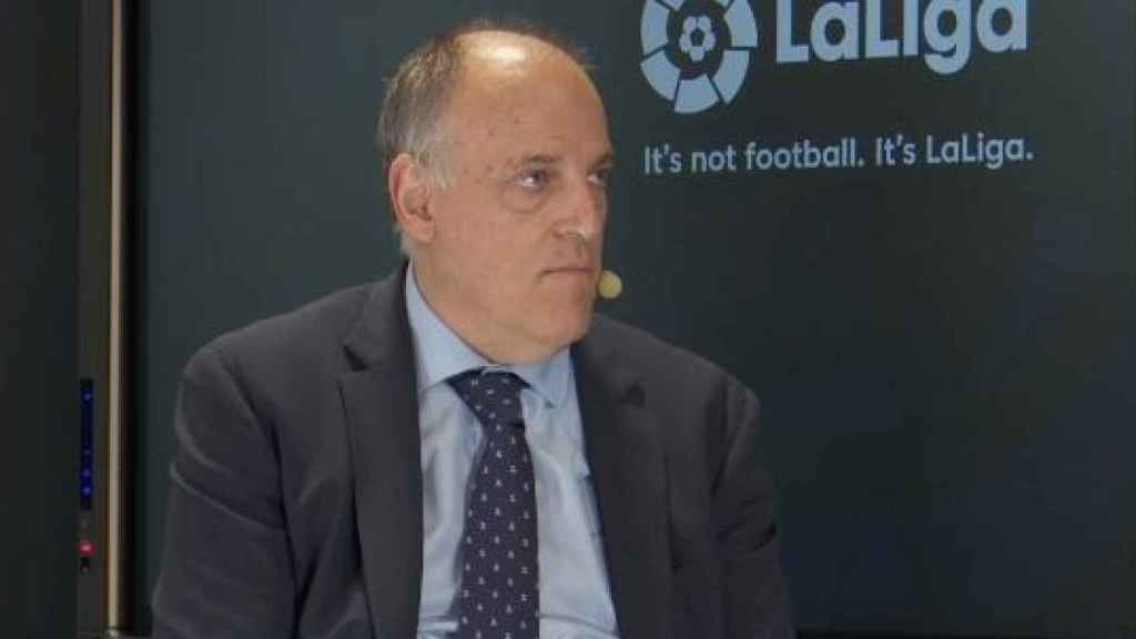 Javier Tebas, durante el World Football Summit