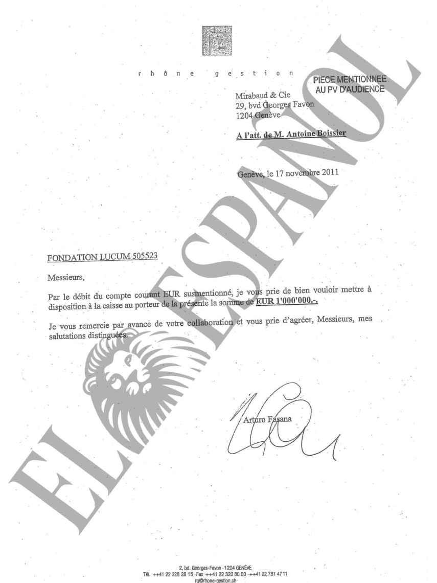 Documento firmado por Arturo Fasana para el banco Mirabaud solicitando la retirada de un millón de euros.