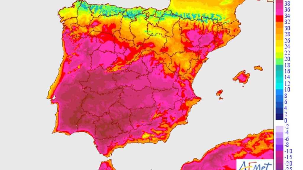 Temperaturas máximas a 06/07/2020. AEMET.