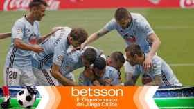 Piña de los jugadores del Celta de Vigo en La Liga
