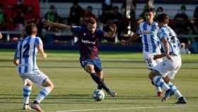 Borja Mayoral, durante el Levante - Real Sociedad de la jornada 34 de La Liga