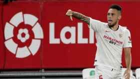 Ocampos celebra su gol con el Sevilla ante el Eibar en la jornada 34 de La Liga