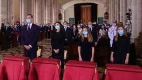 El Rey Felipe VI, la Reina Letizia, la princesa Leonor y la infanta Sofía, en la Santa Misa celebrada en recuerdo de todas las víctimas del COVID-19 en la Catedral de la Almudena.