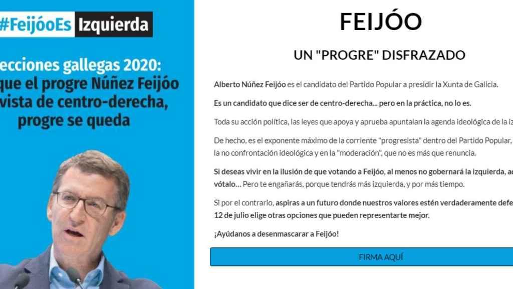 Página web abierta por Hazte Oír denunciando que Feijóo es un progre disfrazado.