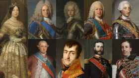 Isabel II, Felipe V, Luis I, Fernando VI, Carlos III, Carlos IV, Fernando VII, Alfonso XII y Alfonso XIII.